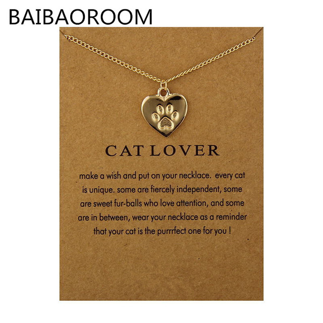 Cat Lover Friendship Heart Charm Necklace For Women