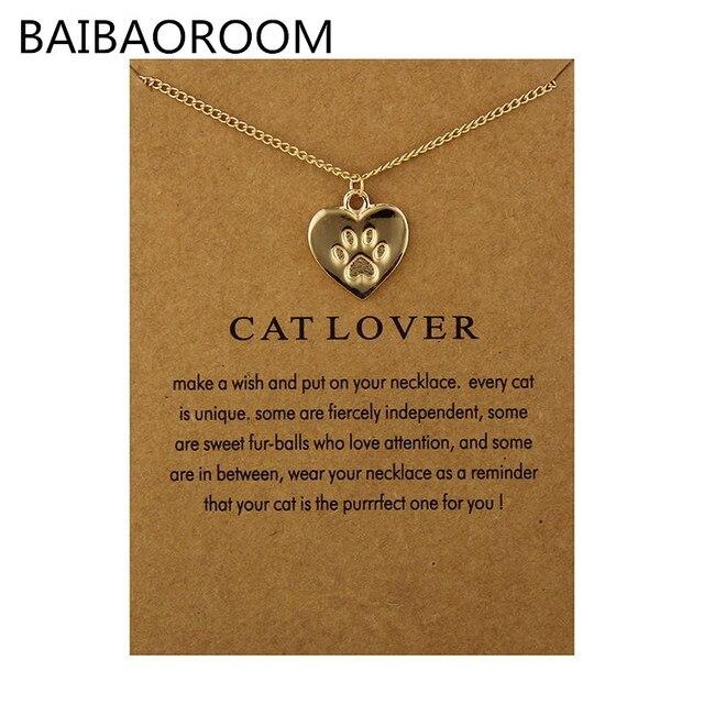 Moda Biżuteria Przyjaźń Przypomnienia Cat Lover Serce Charm Naszyjnik Dla Kobiet