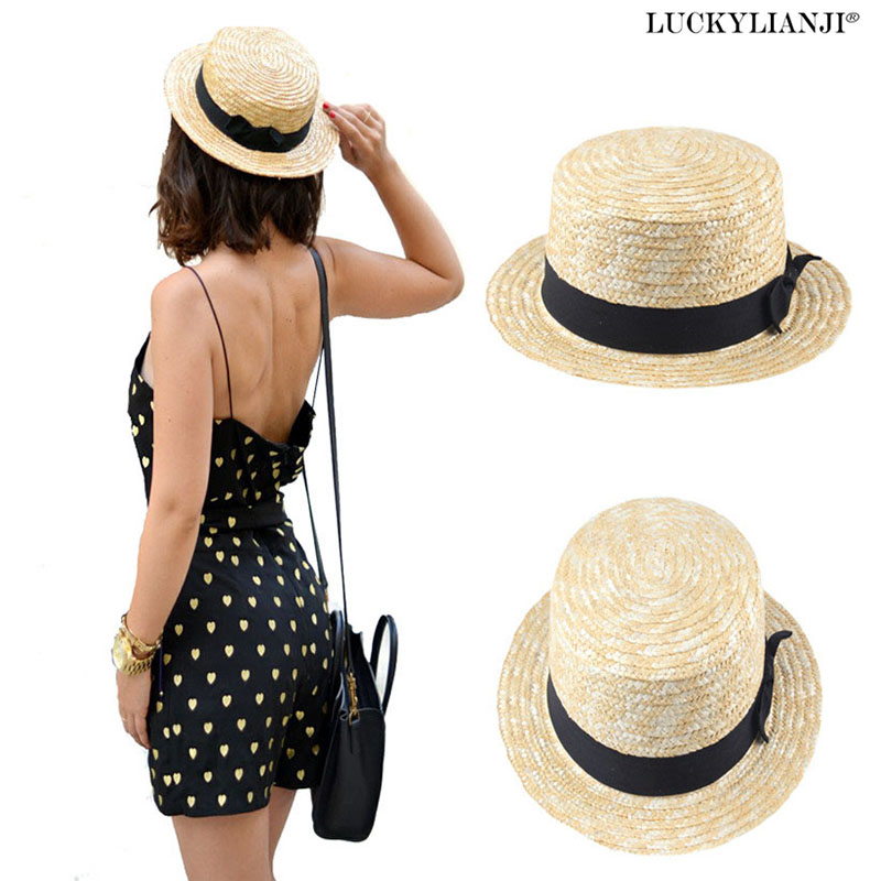 LUCKYLIANJI Beige Men Lady Boater Summer Beach Ribbon Round Flat Top Straw Fedora Panama Hat (Talla única: 58cm)