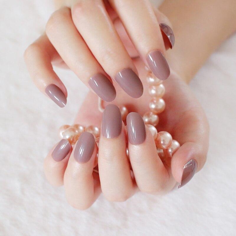 New 24pcs Adorable fashion candy oval decorative fake nails short ...
