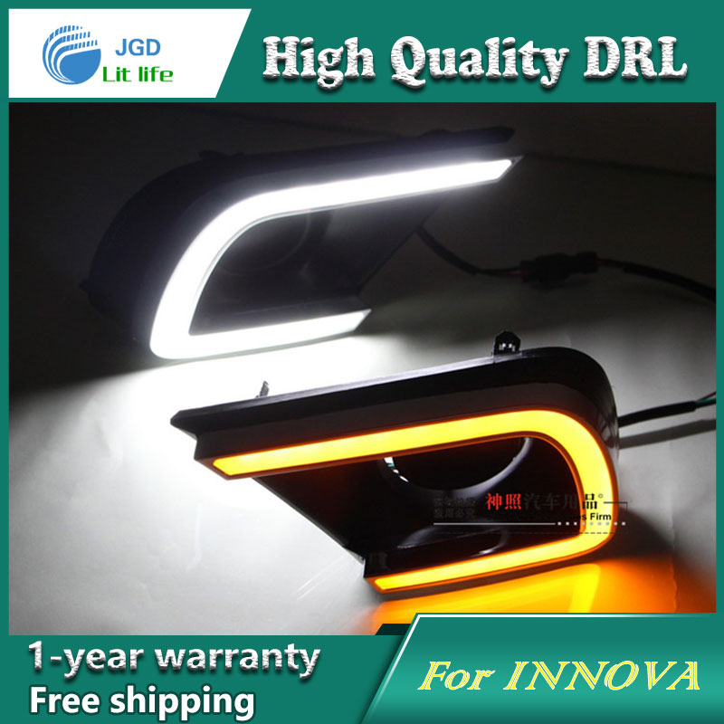 Free shipping !12V 6000k LED DRL Daytime running light case for Toyota INNOVA 2014 2015 fog lamp frame Fog light Car styling 2013 2016 innova daytime light free