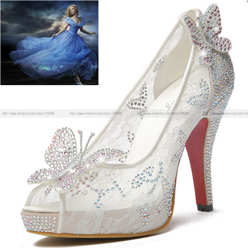 Princess Cinderella Cosplay Sparkling Crystal Shoes Adults Lace Butterfly  Women Wedding Shoes Thin Heel pointed toe 12bcc6dd7313