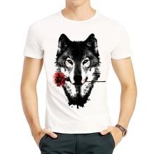 Wolf Print T Shirt Summer Short Sleeve White Fashion With Rose Top Tees tshirt Casual Animal T-shirt Men Women