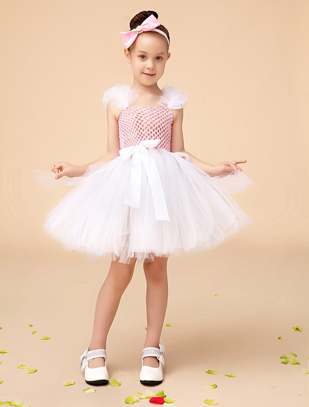 Ball Gown ivory Princess little girls dress Pageant Dresses with sash kids little formal dress