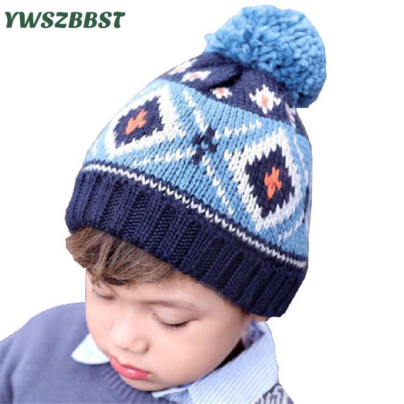 Fashion Baby Hat for Boys Kids Boy Crochet Beanie Baby Boys Hats Winter Baby Caps with pom pom Knit Hats fit 1-4 Years old