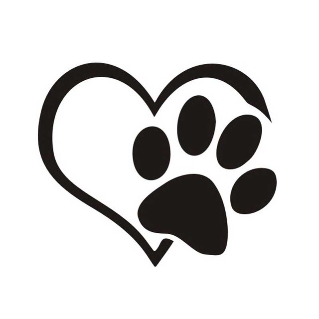 Black heart paw vinyl decal car truck sticker bumper window adopt bully heart cat