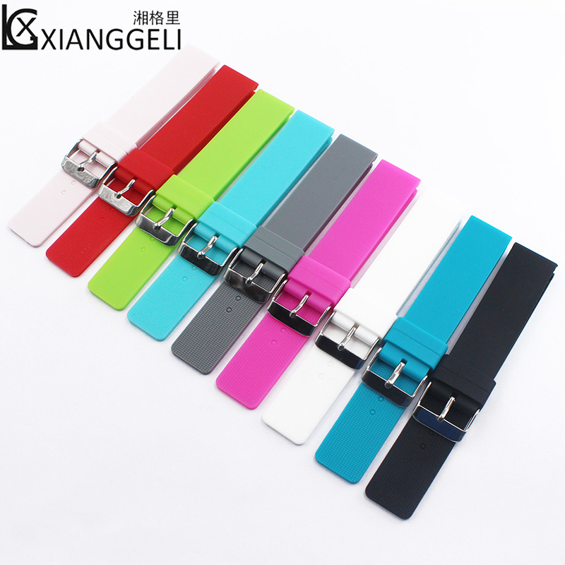 Watch Accessories 20mm Silicone Strap Flat Straight Pin Buckle For All Men & Women Children Casual Fashion Sports Watch Bands цены