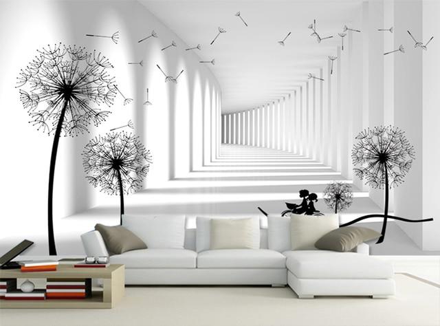 Grey white brick lover riding dandelion floral glitter for Wallpaper home center