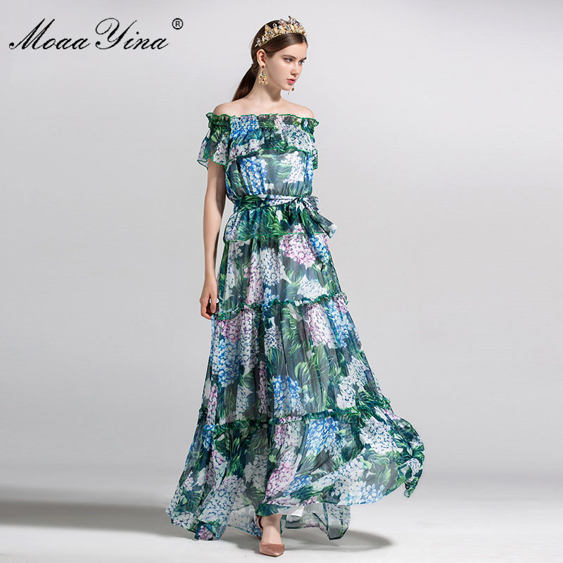 MoaaYina Fashion Designer Runway Dress Summer Women Short sleeve Off Shoulder Green leaf Floral Print Ruffles Beach Maxi Dress
