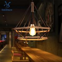Creative Manila Rope Diamond Shaped Chandelier Ceiling Pendant Lampshade Light Shade Frame