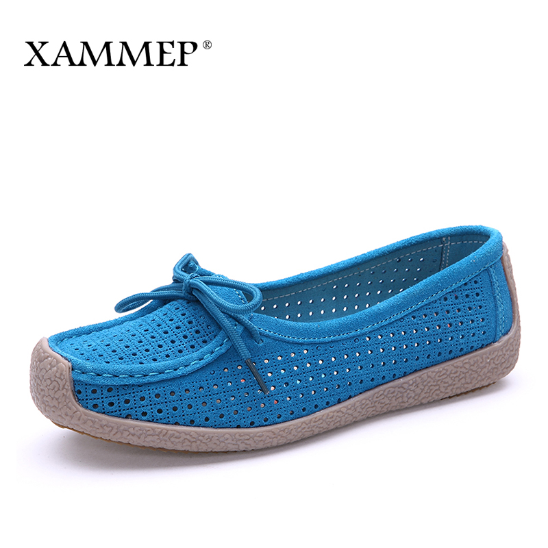 Xammep Women Flats Spring Autumn Brand Women Shoes Women Sneakers Cow Suede Female Basic Casual Shoes Round Toe Cross-tied Hole