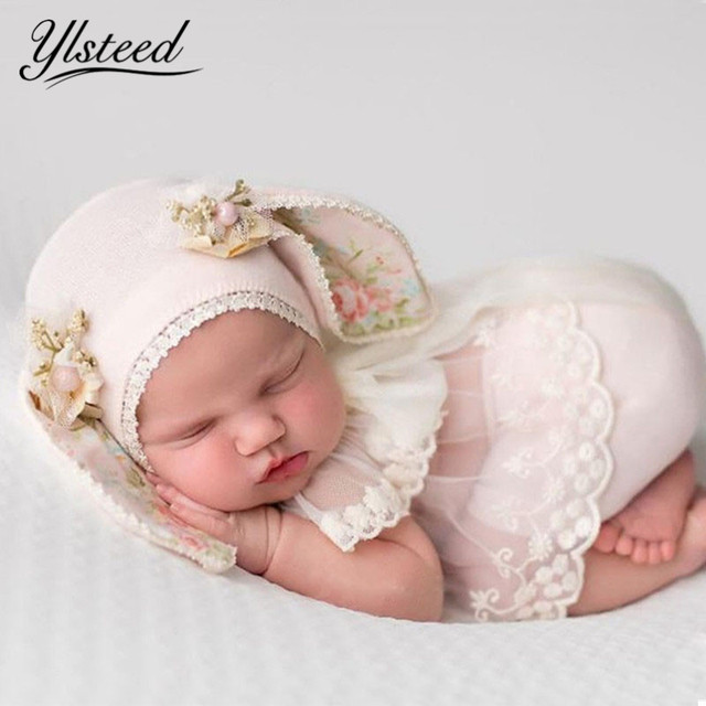 Ylsteed 3Pcs Set Newborn Photography Props Baby Rabbit Ear Hat Newborn Shooting Clothes Cute Baby Boy Girl Outfits Newborn Gifts
