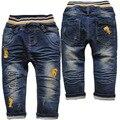3803 frete grátis macio dinim calças bebé calças de brim das crianças calças meninos outono azul marinho calças de brim do bebê calça casual