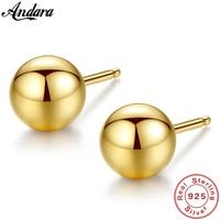 Authentic 18k Yellow Gold Earrings Round Ball Stud Earrings Women Fine Jewelry