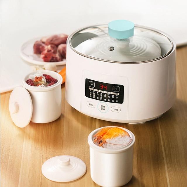 DMWD 1.6L Mini Automatic Electric Stewing Pot Soup Porridge Cooker Ceramic Water Partition 3 Cores 7 Menus 12H Appointment 220V 2