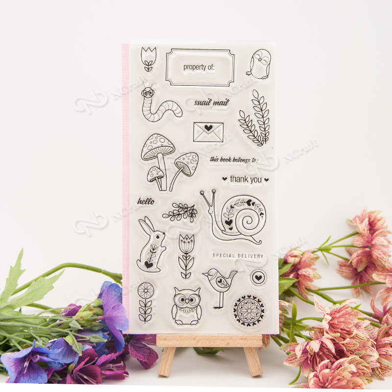 Snail and bird Clear Stamp Scrapbook DIY photo cards rubber stamp seal stamp happy transparent silicone transparent stamp T-0068 lovely animals and ballon design transparent clear silicone stamp for diy scrapbooking photo album clear stamp cl 278
