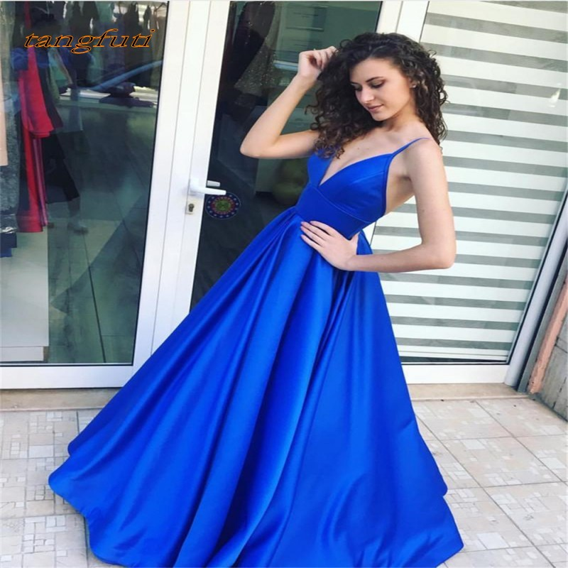 Long Blue   Prom     Dresses   Satin A Line Backless Sexy Women Party Gowns 2019 Vestido De Fiesta High Quality   Prom   Party Wear   Dress