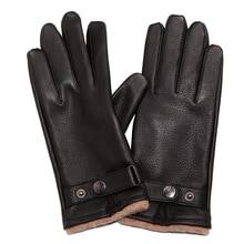 High-grade Man's Deerskin Gloves Genuine Buckskin Male Gloves Classic Fashion Knitted Lined Winter Warm Driving XC-107 hestra deerskin winter lined dark brown
