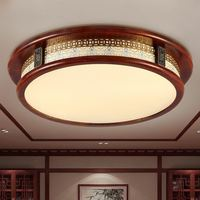 Chinese style LED ceiling lamp creative round solid wood living room lamp book room dining room bedroom ceiling light ZA915519