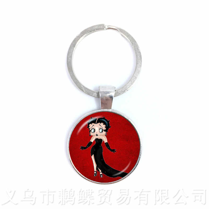 New Lovely Sexy And Charming Betty Boop 25mm Glass Dome Keychain Cute Cartoon Multiple Color Selectable Betty Funs Gift