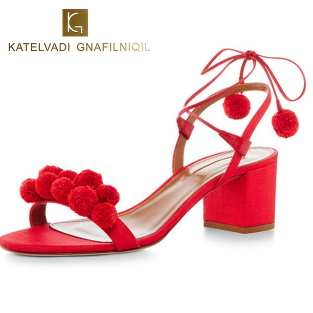 Summer Gladiator Sandals Women Shoes High Heels 6CM Lace Up Pom Pom Sandals Women Open Toe Women Sexy Denim Sandals Woman B-0067