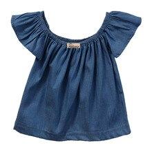 Детская блузка принцессы для маленьких девочек; Летний стиль г.; блузки с короткими рукавами и открытыми плечами; рубашка; топы; футболки; джинсовые синие