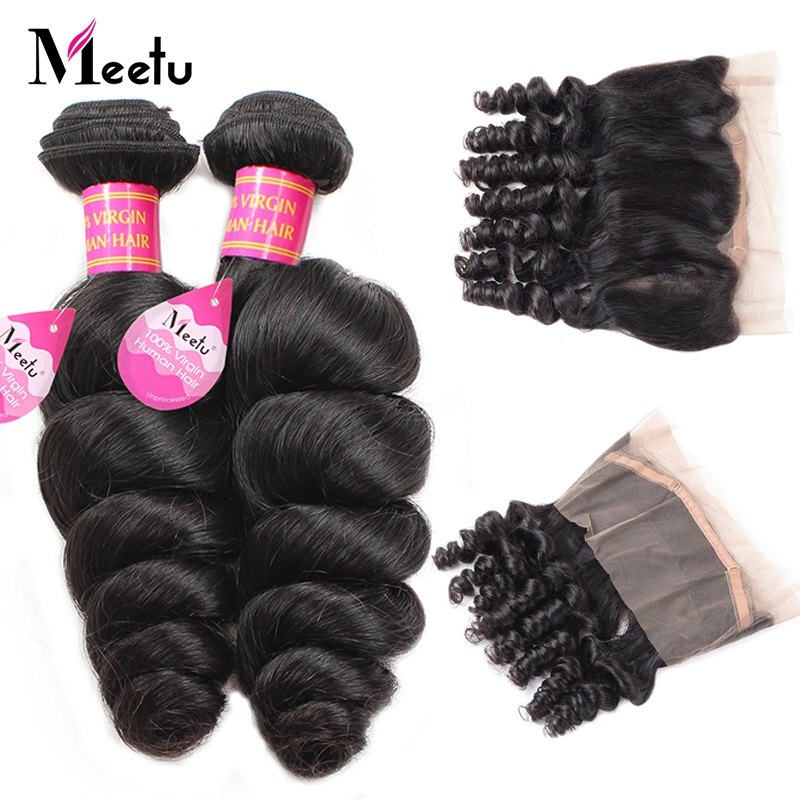 Meetu Indian Loose Wave Bundles with Frontal 100 Human Hair 360 Lace Frontal with Bundle Non