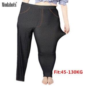 Image 1 - プラスサイズの女性レギンス 5XL フェイクデニムジーンズデニムレギンス大ブラックストレッチ鉛筆のズボンのズボン 2019 春