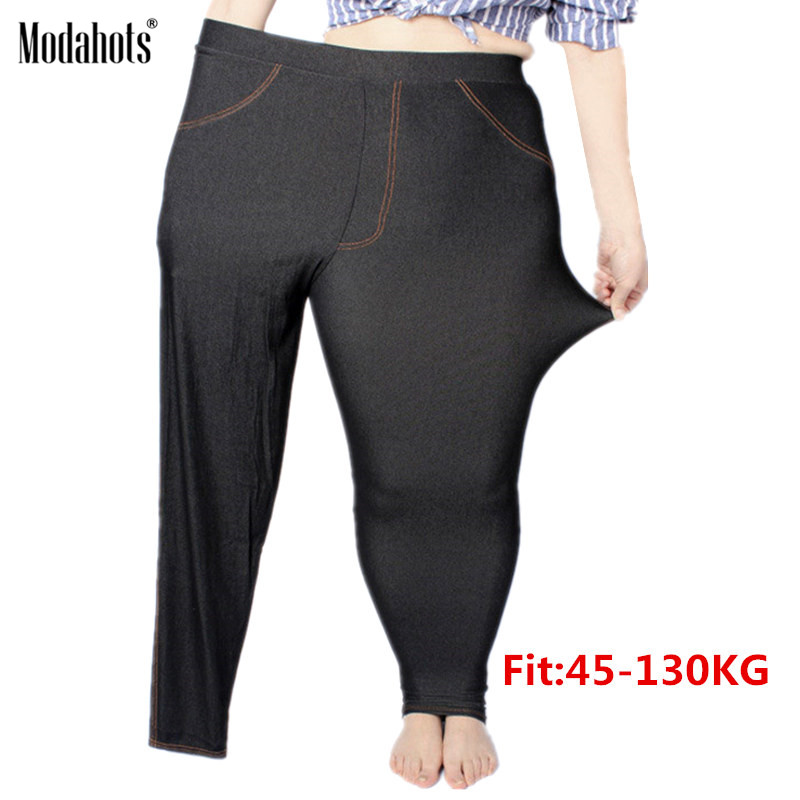 Plus Size Women Leggings 5XL Faux Denim Jeans Jeggings Legging Large Black Stretch Skinny Pencil Pants Trousers 2019 Spring