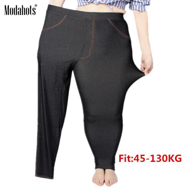Plus Size Women Leggings 5XL Faux Denim Jeans Jeggings Legging Large Black Stretch Skinny Pencil Pants Trousers 2019 spring