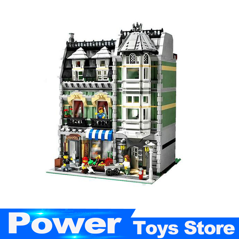 New Lepin 15008 2462Pcs City Street Green Grocer Model Building Kits Blocks Bricks Compatible Educational legoed 10185 toys new lepin 16008 cinderella princess castle city model building block kid educational toys for children gift compatible 71040