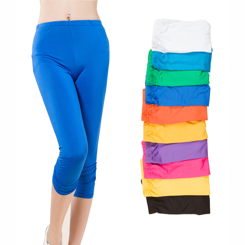 Candy Colors Lady Fashion Leggings Plus Storlek L-4XL High Elastic Waist Lady Mode Skinny Pants Good Quality Capris