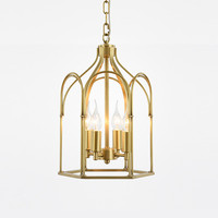 American Country Creative Attic LED Chandelier Modern Simple Copper Birdcage Villa Study Decoration Stairs Light Fixture