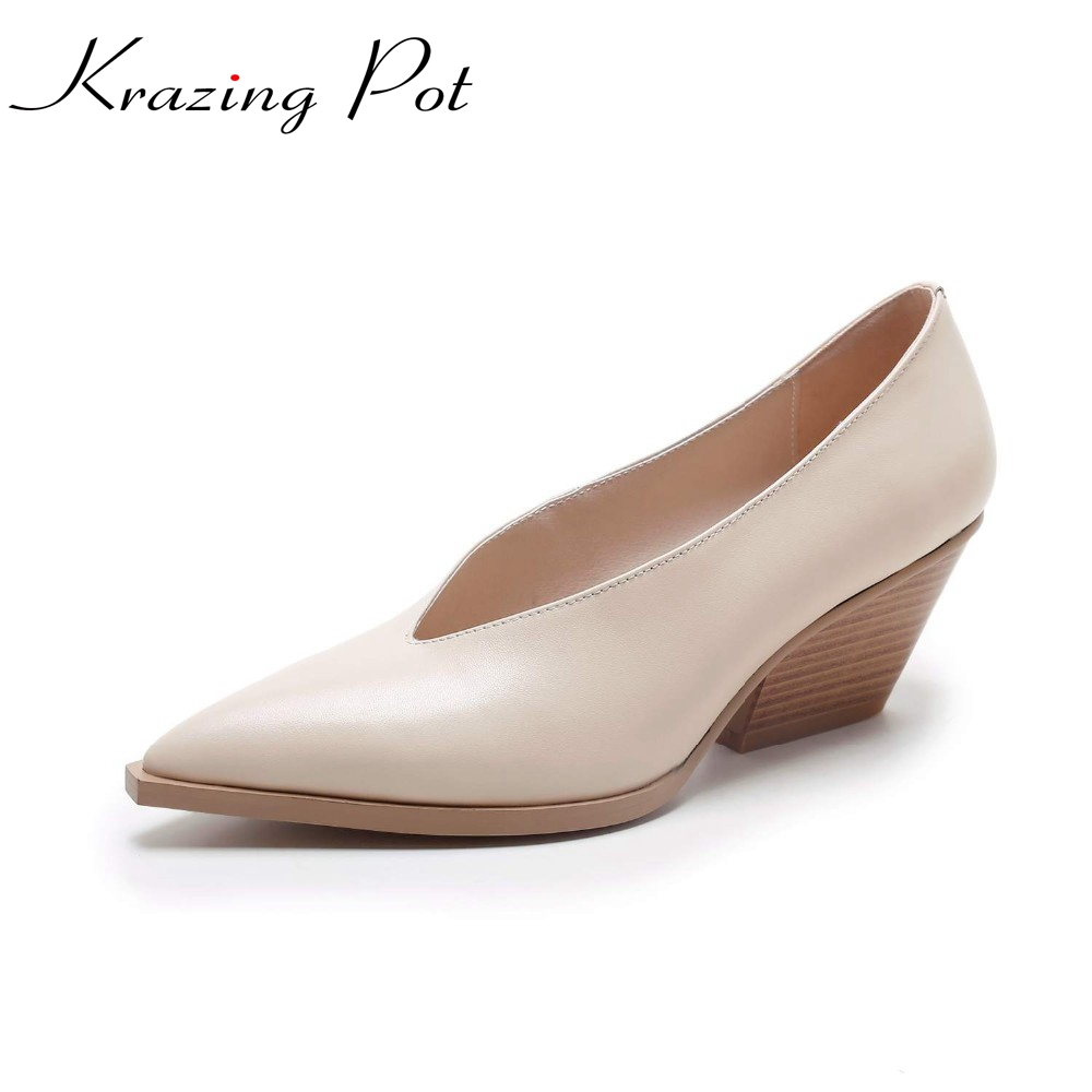 Shoes women fashion European med heels genuine leather pumps slip on ladies shoes 2017 spring autumn pointed toe pumps L1-1 british college style genuine leather sexy pointed toe pumps fashion tassel slip on red black beige square med with women shoes