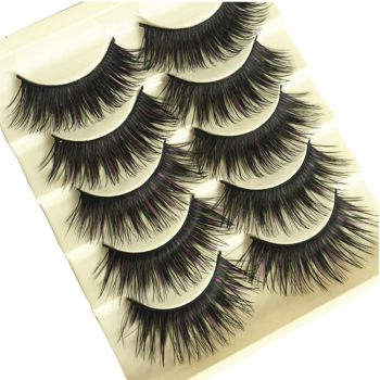 5 Pairs Natural Fashion Women Handmade Natural Cross Thick Long Makeup Black Purple False Eyelashes Eye Lashes Extension False Eyelashes