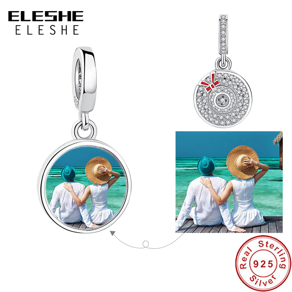 925 Sterling Silver Shimmering Crystal Round Dangle Charms Fit  Bracelets Pendant DIY Personalized Photo Custom Jewelry
