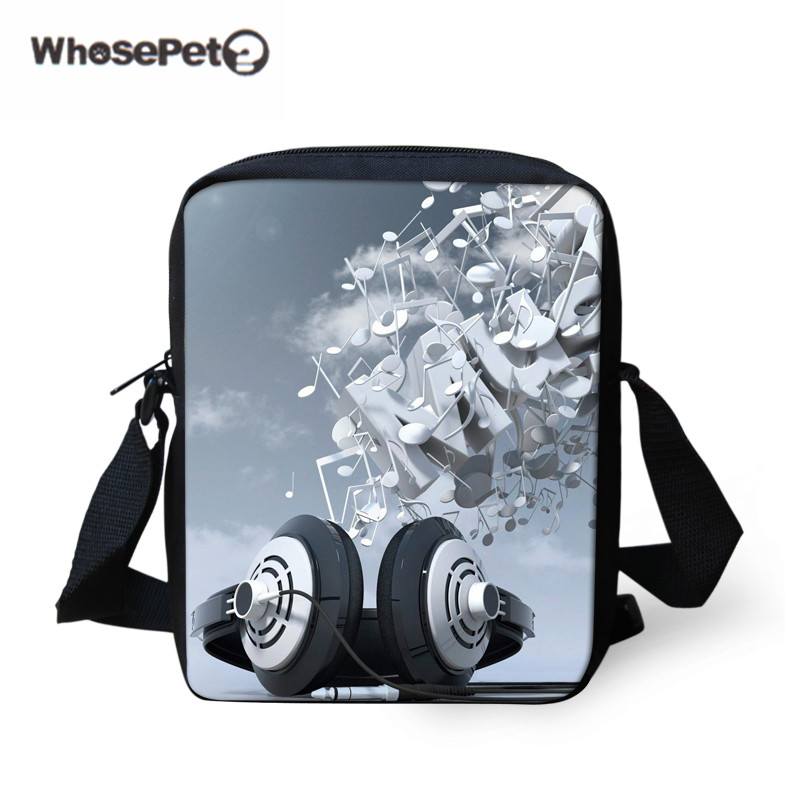 WHOSEPET DJ Music Messenger Bags for Men, Record Player Male Crossbody Bags,Kids Boys Mini Shoulder Bags,Mens 3D Cross Body bag