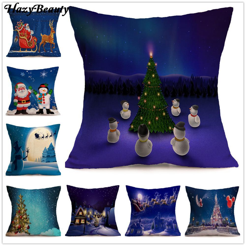 17x17 Square Christmas Style Pillow Cover Cotton Linen Pillowcase Sofa Square Cushion Cover Christmas Tree Pillowcase