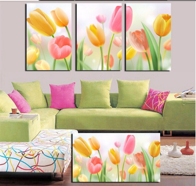 Aliexpress.com : Buy 3 Piece Wall Art Yellow Red Flower Pictures ...