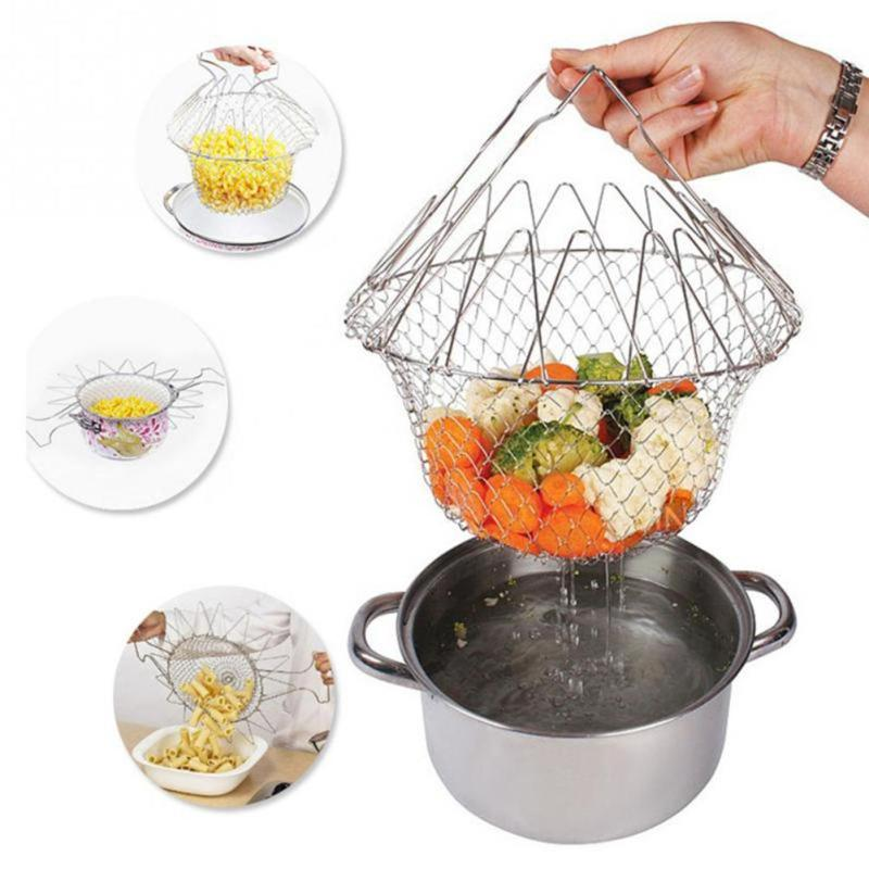 Stainless Steel Folding Expandable Fry Chef Basket Strainer Net Colander Cooking Steam Drain Rinse Filter Sieve Kitchen Tools Colanders & Strainers    - AliExpress