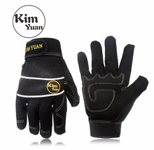 KIM YUAN 032 Mechanic General Utility Breathable Work Gloves Touch Screen, Skid Abrasion Resistant, Warehouse, Construction, kim yuan 019 green garden leather work gloves anti slippery