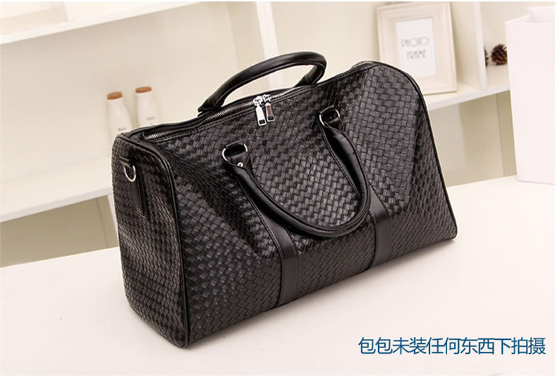 New Fashion PU Faux leather knitted Men Travel bag Luggage Bag Carry on Men  duffle bag Weekend Shoulder bag Tote Handbag Large-in Travel Bags from  Luggage ... 2c4cddc65f