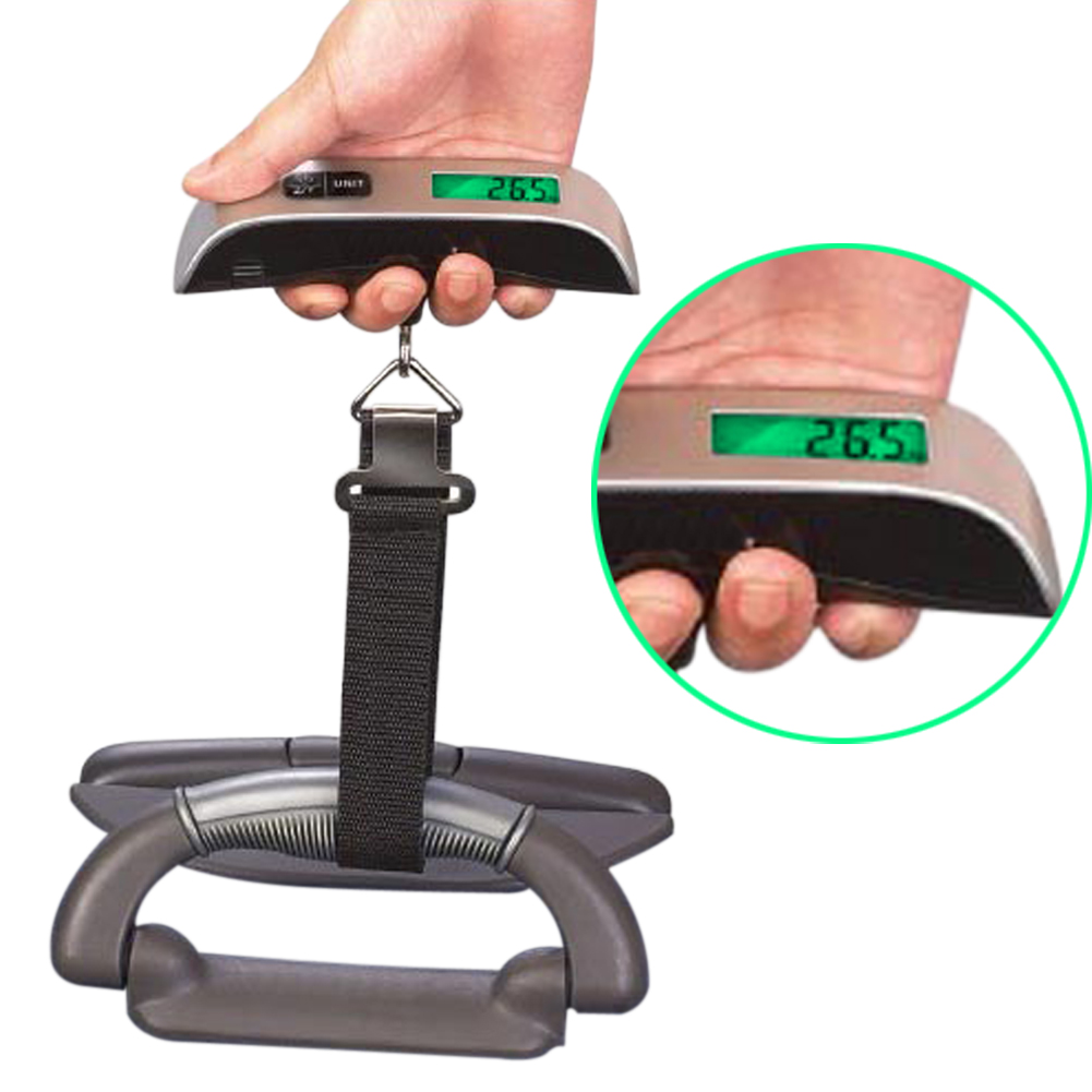 Luggage Scale Electronic Digital Scale Portable Suitcase Travel Bag Hanging Scales Balance Weight Thermometer LCD Display high quality precise jewelry scale pocket mini 500g digital electronic balance brand weighing scales kitchen scales bs