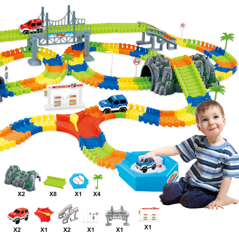 Light Rail Car Railway Magical Mini Road Luminous Flexible Railroad Glowing DIY Multi Assembled Plastic Children Hobby Toys