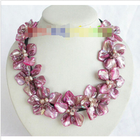 handcraft Baroque bloom pink pearls seashell crystal choker leather j7746^^^@^Noble style Natural Fine jewe SHIPPING (C0309)
