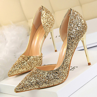 Women Pumps Sexy Glisten Women Shoes Wedding Party Dress Heels Women Hollow Shallow Mouth High Heels
