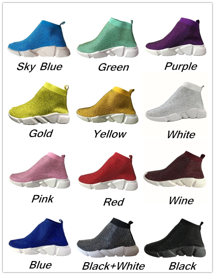 Myfitgo Stretch Sock Sneakers Spring Knitted Air Mesh Girls Flat Shoes Sport Casual Walking Boots Solid
