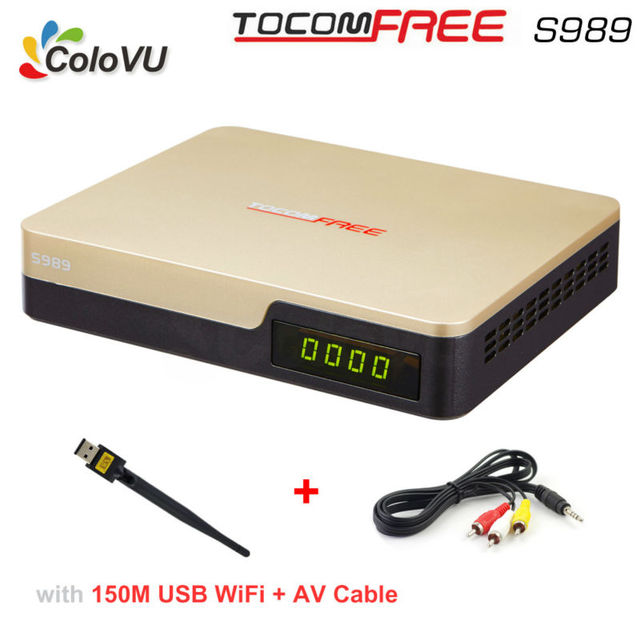 Satellite TV Receiver TocomFree S989 + USB WiFi + AV Cable  with Free IKS SKS IPTV TV Box for Brazil Chile Peru South America