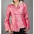 Новое Прибытие Мода Розовый Китайских женщин Шелковый Атлас Куртка Вышивка Пальто Мухерес Chaqueta Цветов Размер Ml XL XXL XXXL
