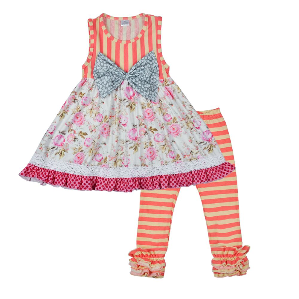 Sleeveless Girls Spring Summer Outfits Cotton With Bow Top Ruffle Icing Pants High Quality Fashion Kids Clothing Sets 2016 fashion summer rare editios for girls cute clothing outfits kids short sleeve bow cotton polka dot dress with pants suit